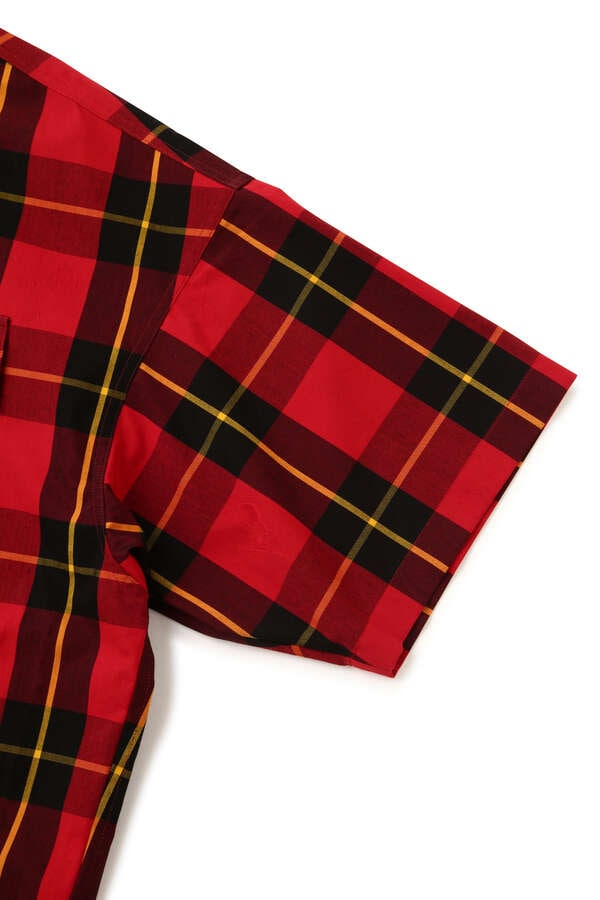 BLOCK PLAID SS HOODED SHIRT