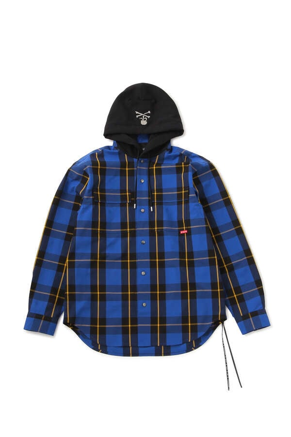 BLOCK PLAID HOODED SHIRTS