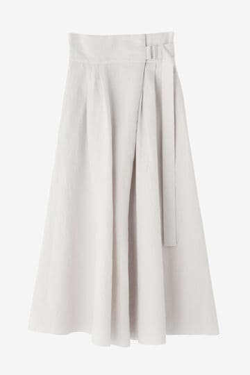 ATON / LINEN WEATHER BELTED SKIRT_030