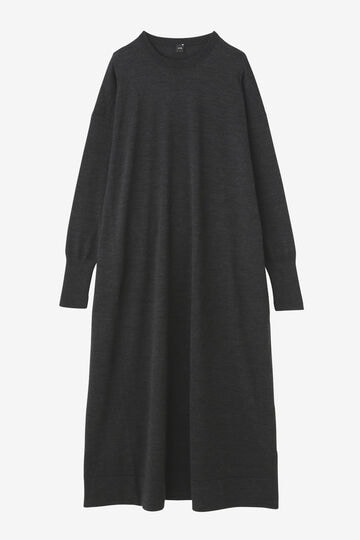 ATON / NATURAL DYE SLOW WOOL CREW NECK LONG DRESS_020