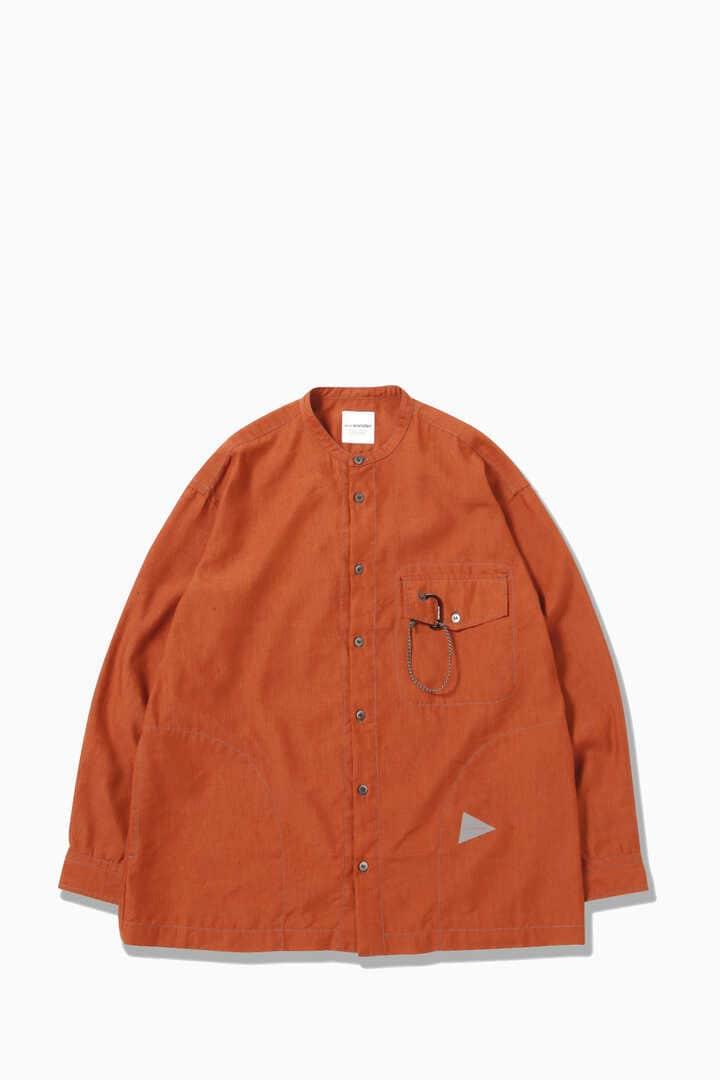 dry linen band collar shirt
