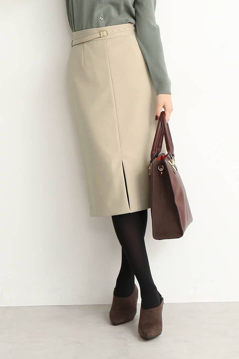 【追加生産予約3月下旬-4月上旬入荷予定】ウエストベルト付カラータイトスカート