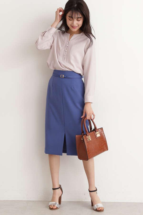 ウエストベルト付カラータイトスカート