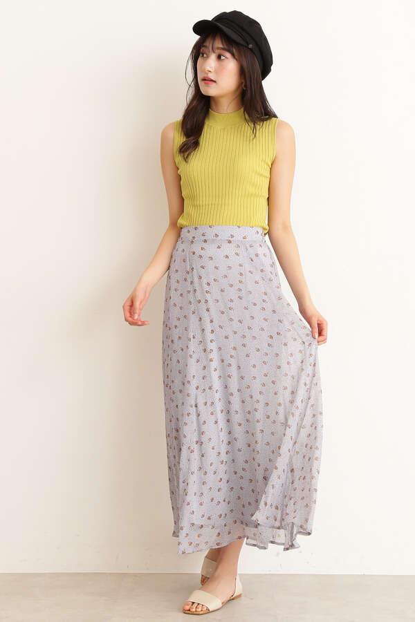 小花シフォンマキシスカート