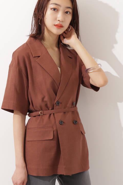麻混ベルト付半袖ジャケット