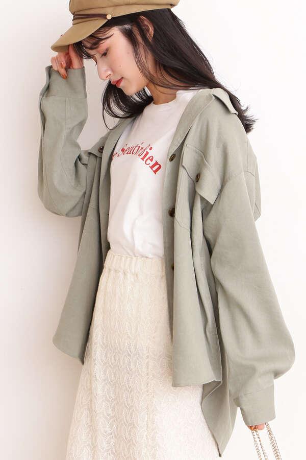 麻調ルーズシャツジャケット
