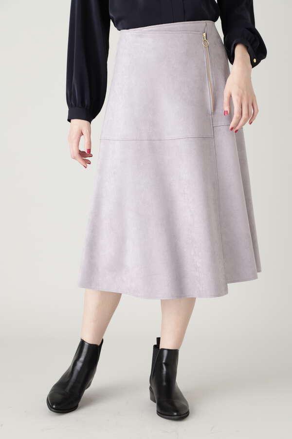 フェイクスウェードフレアスカート