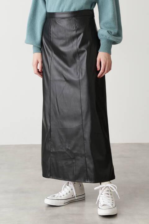 フェイクレザーナローマキシスカート