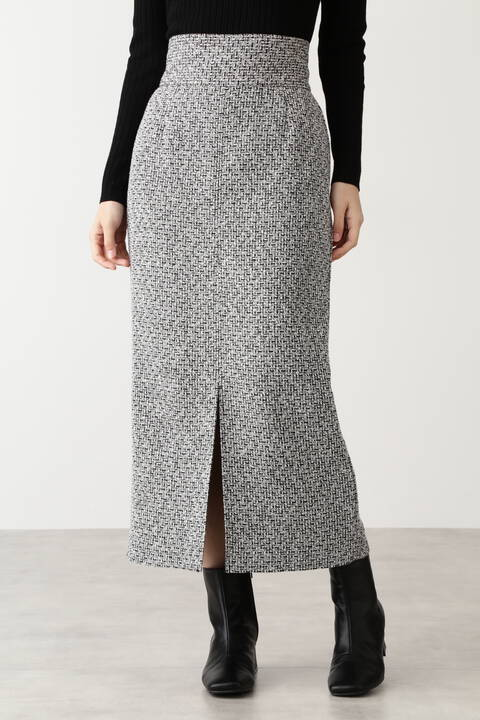 ツイードスリットタイトスカート