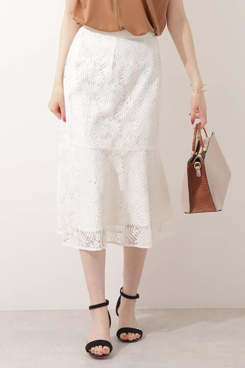 【先行予約6月中旬-6月下旬入荷予定】リーフレースペプラムスカート