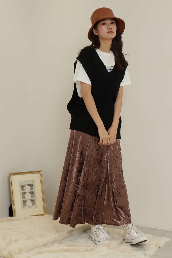 クラッシュベロアスカート
