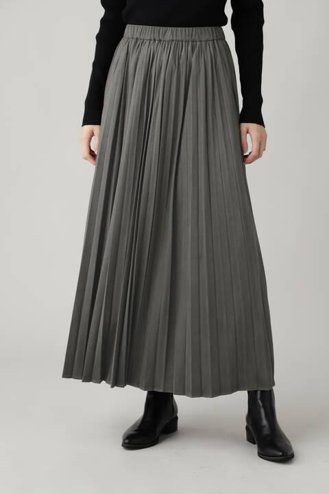 ストレッチエコスウェードプリーツスカート