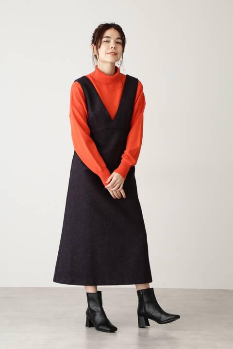 【追加生産予約12月中旬入荷予定】ネップツイードジャンパースカート