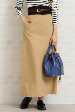 ハイウエストコットンチノマキシスカート