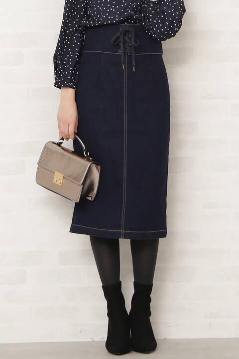 コルセットベルトデニムスカート