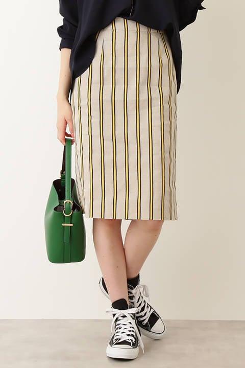 麻ストライプタイトスカート