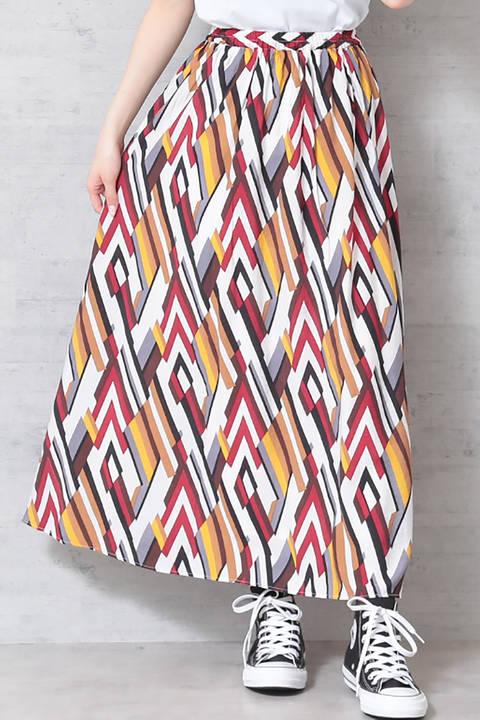 【先行予約5月中旬入荷予定】幾何プリントマキシスカート
