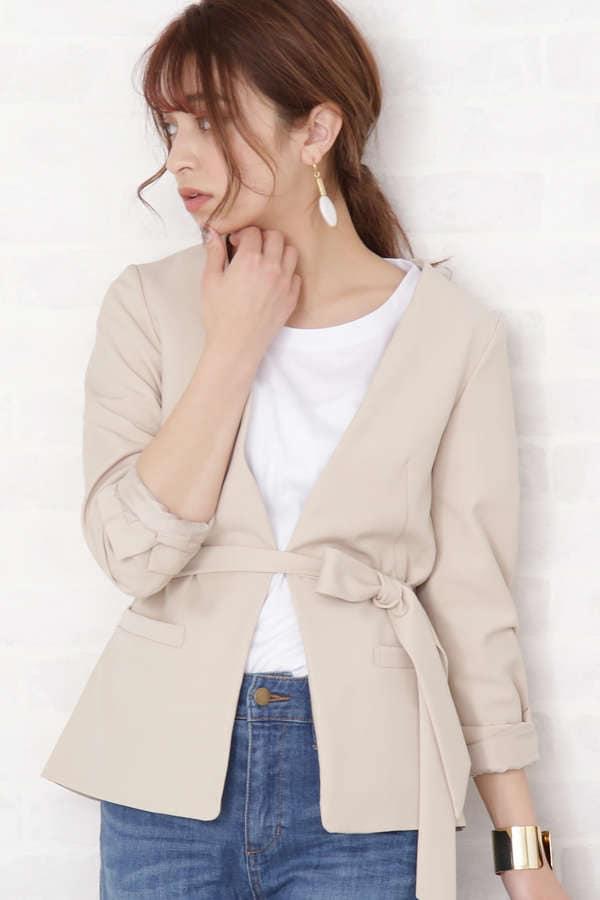 カラーレスリボンベルト付ジャケット