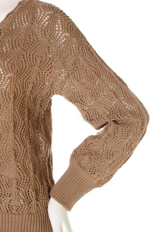 かぎ編み風ニットプルオーバー