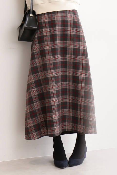 カラーチェックロングスカート