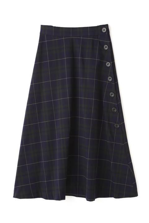 チェックサイドボタンフレアスカート