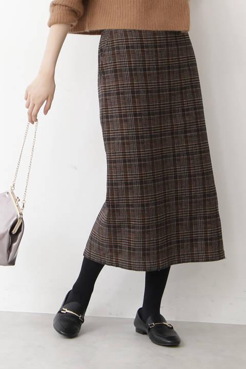 モールチェックロングタイトスカート