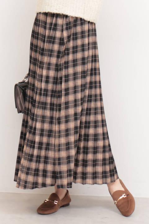 チェックプリーツマキシスカート
