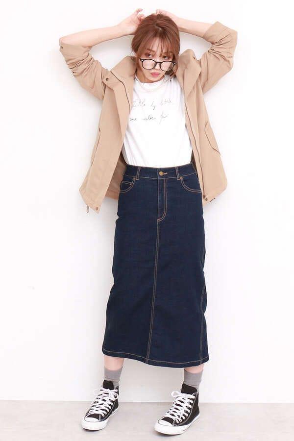【先行予約8月中旬-8月下旬入荷予定】ベーシックデニムミモレタイトスカート