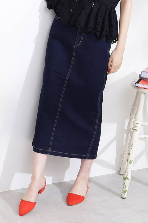 ベーシックデニムミモレタイトスカート