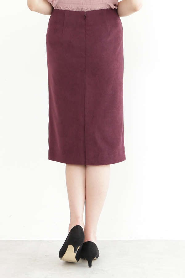 【先行予約8月下旬-9月上旬入荷予定】ピーチスウェードタイトスカート
