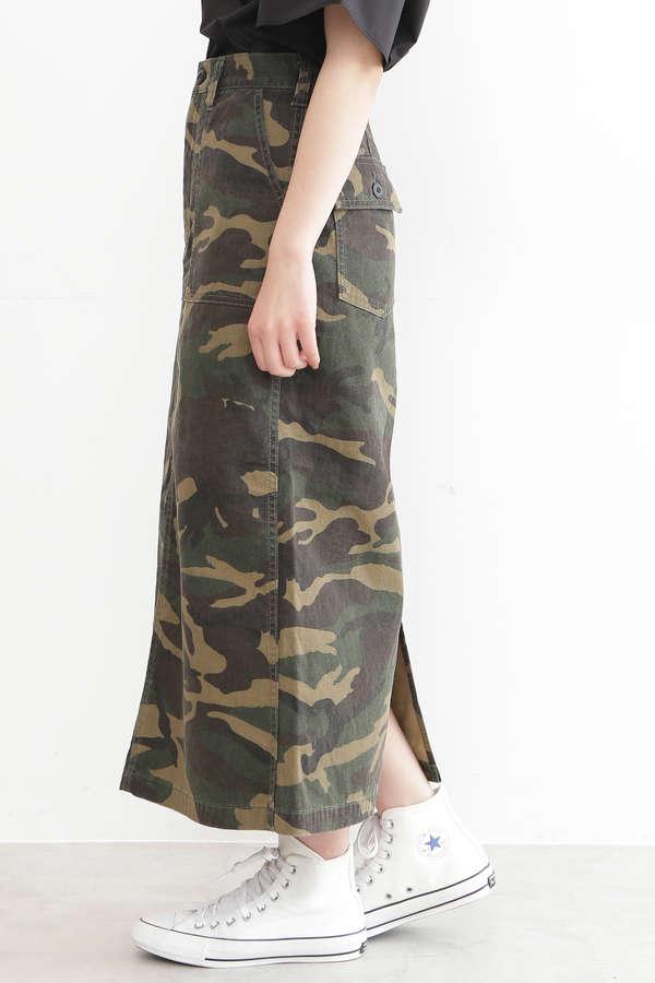 カモフラージュベイカーロングスカート