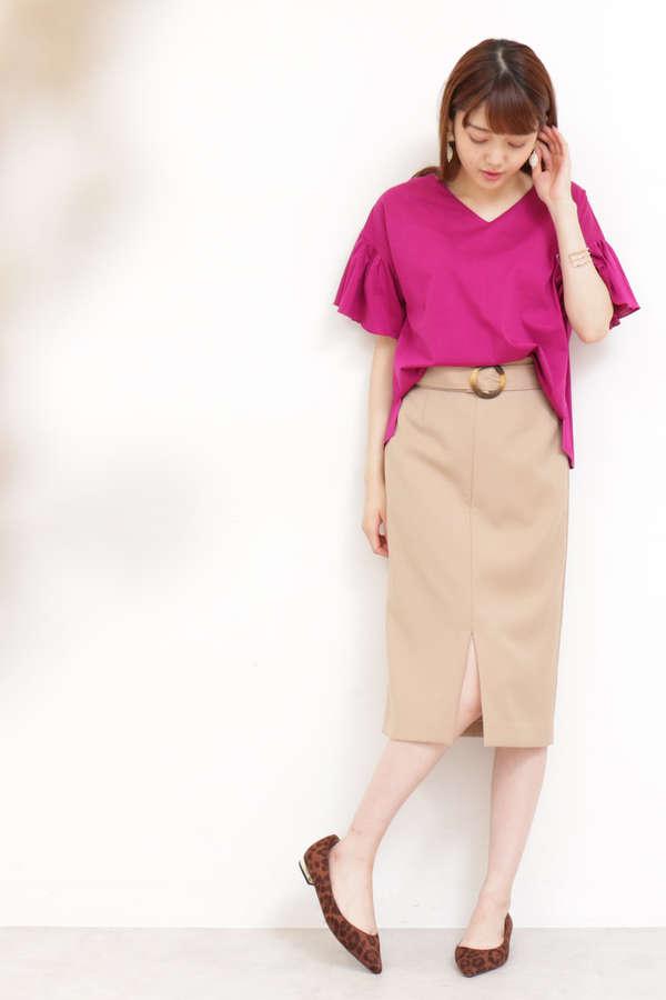【先行予約9月中旬-10月下旬入荷予定】ベッコウバックルタイトスカート