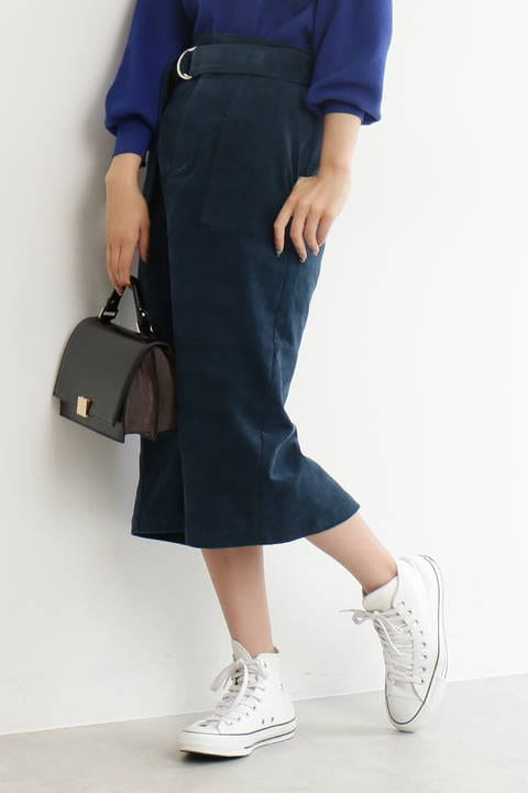 細コーデュロイポケットスカート