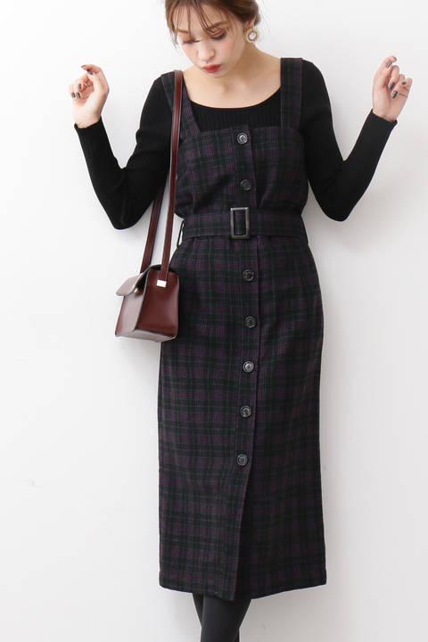 【先行予約10月中旬-10月下旬入荷予定】フロント釦ジャンパースカート