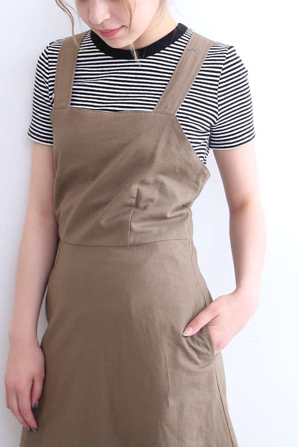 【先行予約7月下旬-8月上旬入荷予定】コットン麻マキシジャンパースカート