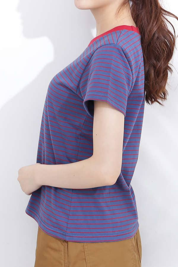 【先行予約8月上旬-8月中旬入荷予定】バイカラーネックボーダーTシャツ