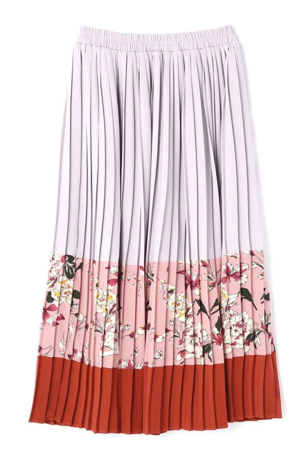 カラーブロッキングプリーツスカート