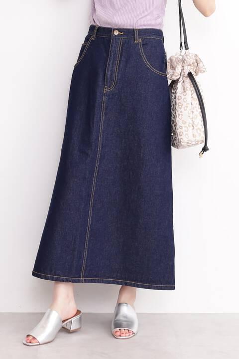 【先行予約2月上旬-2月中旬入荷予定】ベーシックデニムマキシスカート