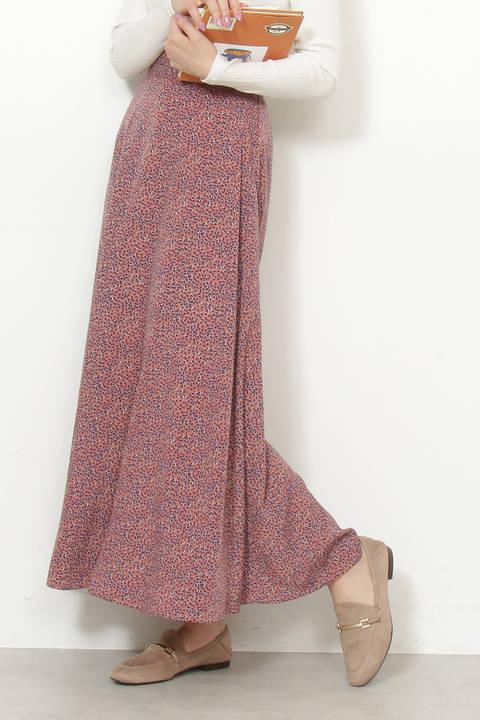 【先行予約2月上旬-2月中旬入荷予定】リーフプリントAラインマキシスカート
