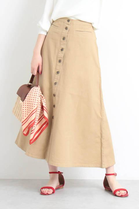 【先行予約3月中旬-3月下旬入荷予定】フロントボタンフレアマキシスカート