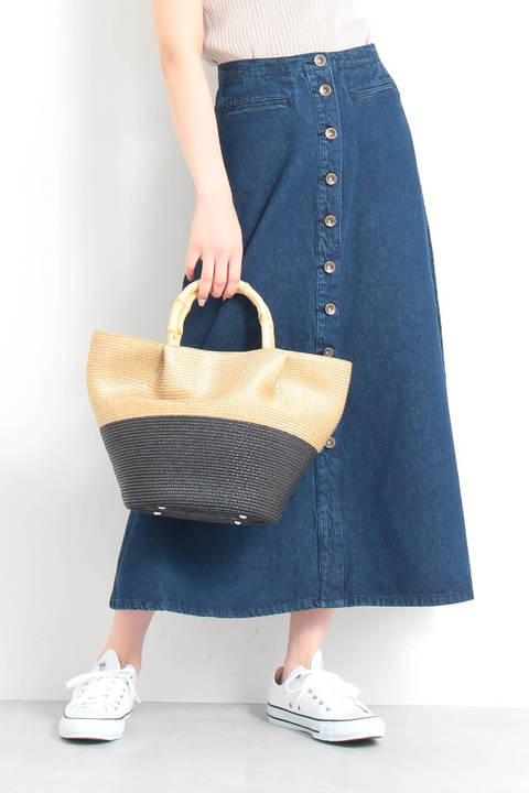 フロントボタンフレアマキシスカート