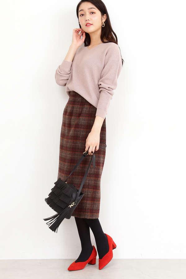 シャギーチェックタイトスカート