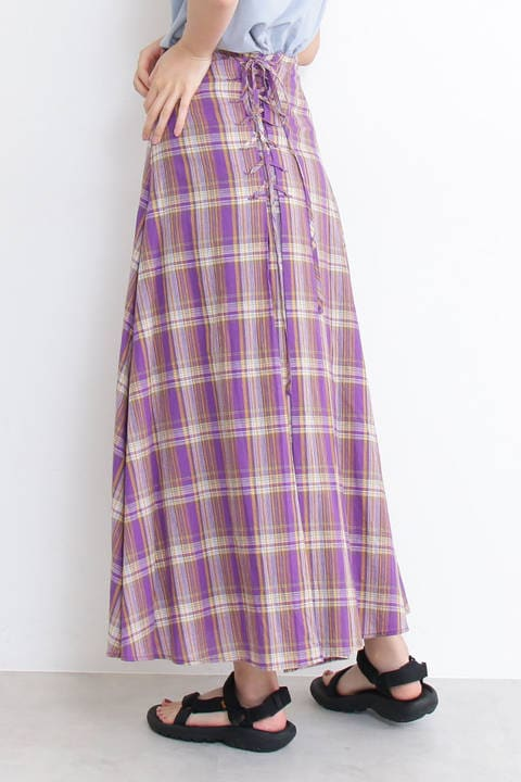 【先行予約6月下旬-7月上旬入荷予定】バックレースアップマキシスカート