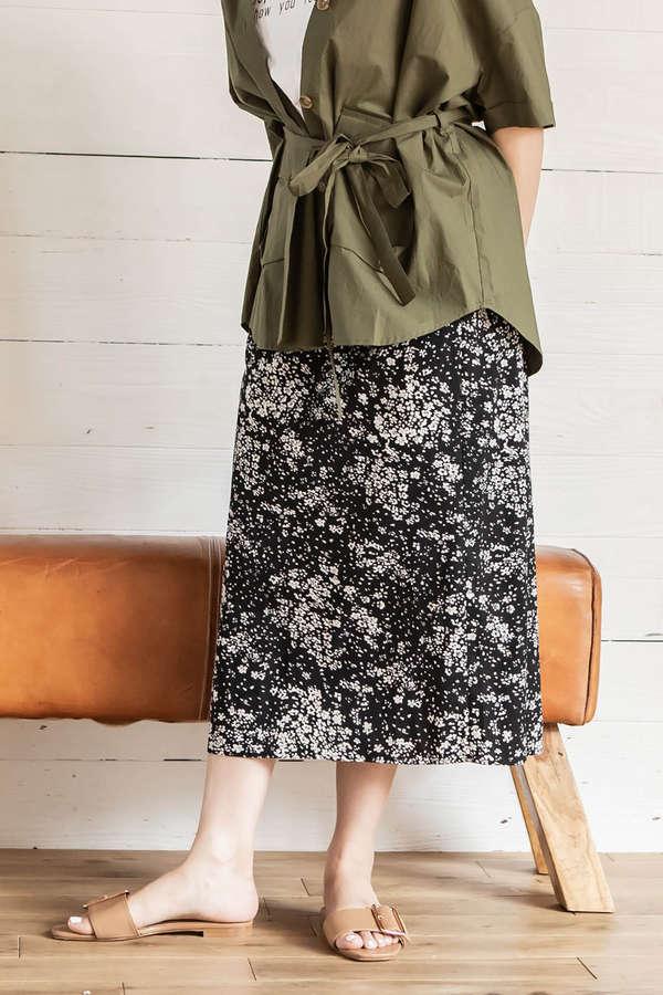 サイドスリットAラインミモレスカート