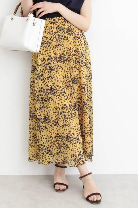 ぼかしフラワーギャザーマキシスカート