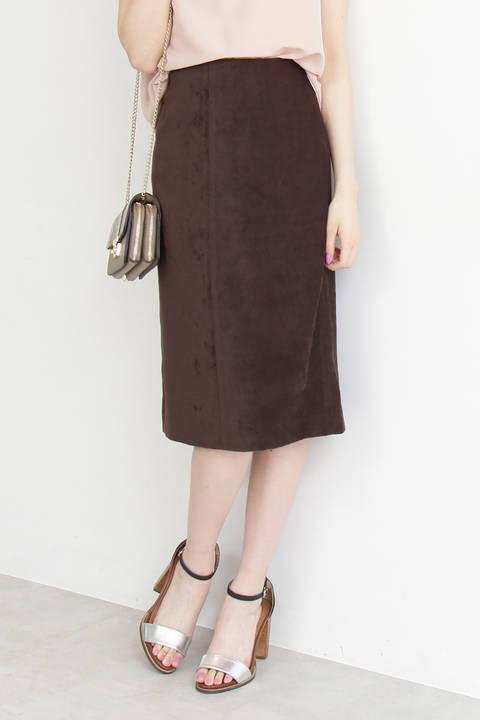 【先行予約8月中旬-8月下旬入荷予定】ピーチスウェードタイトスカート