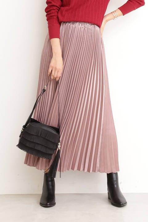 【先行予約9月中旬-9月下旬入荷予定】サテンプリーツマキシスカート
