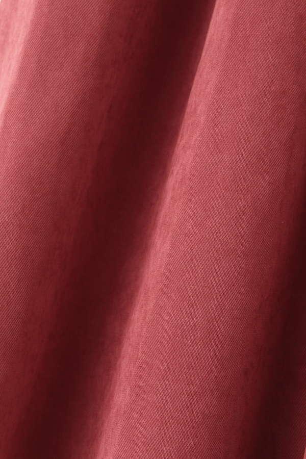 Vネックゴールド釦ピーチワンピース