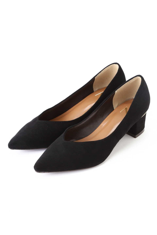 【公式/エヌ ナチュラルビューティーベーシック】Vカットチャンキーヒールパンプス/女性/靴・パンプス/ブラック/サイズ:L/