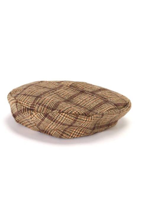 グレンチェックタックベレー帽